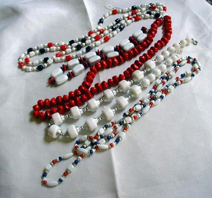 Lot of Five Patriotic Red, White and Blue Necklaces