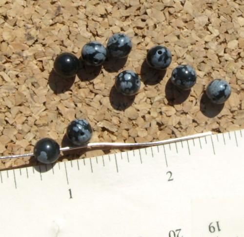 Snowflake Obsidian Beads
