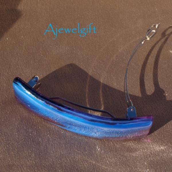 Cornflower Blue Fused Glass Barrette (93178F)
