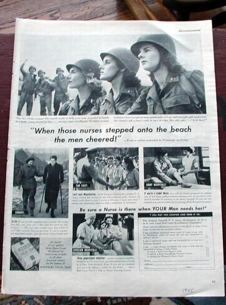 1945 Life Magazine Ad-Army Nurse Corps, Woodbury Soap