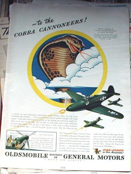 1943 Life Magazine Ad-Oldsmobile. Cobra Cannoneers, 93rd Fighter Squadron
