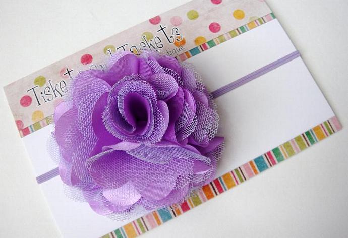 NEW... Lavender Satin n Tulle Puff Flower on Skinny Stretch Headband - Newborn