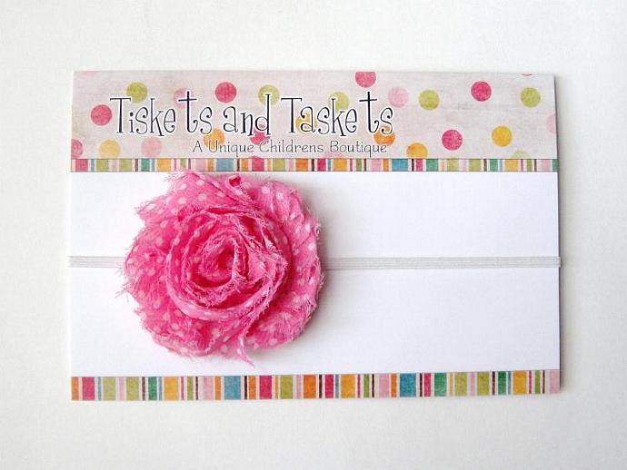 NEW... Pink Polka Dot Chiffon Flower Rosette on Skinny Stretch Headband -