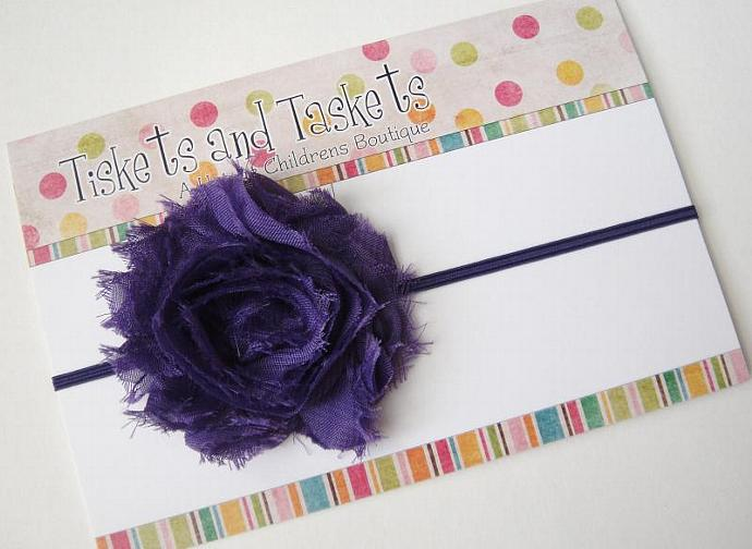 NEW.. Shabby Purple Chic Flower Rosette on chocolate Skinny Stretch Headband -