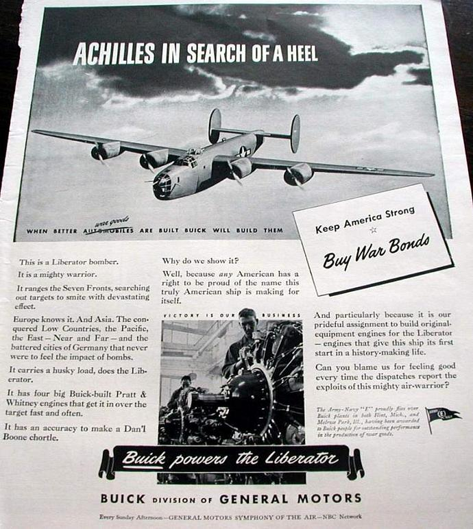 1943 Life Magazine Ad-Buick. Achilles in Search of a Heel