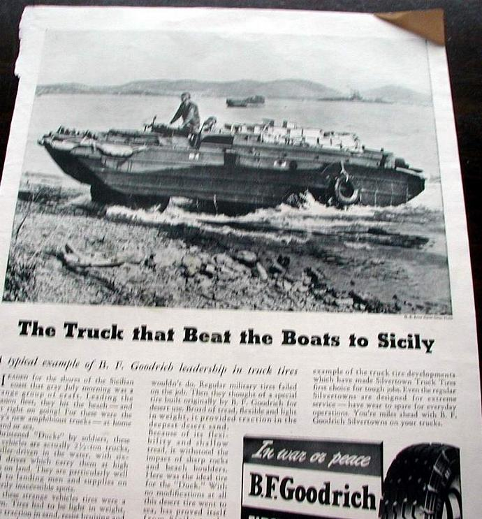 1943 Life Magazine Ad-The Truck hat Beat the Boats to Sicily. BF Goodrich