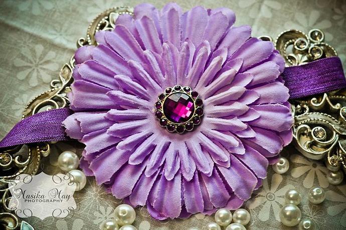 Lavender Daisy Headband with Rhinestone Button