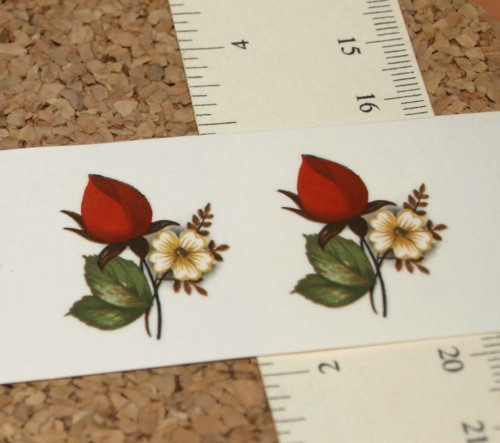 Red Rose Small Ceramic Waterslide Decal -D9-19