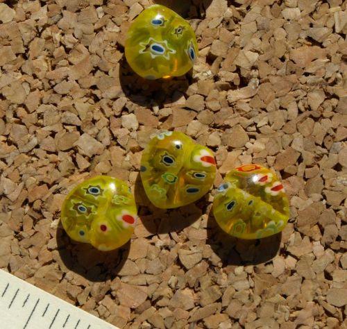 Yellow Heart Millefiori Beads (8-1186)