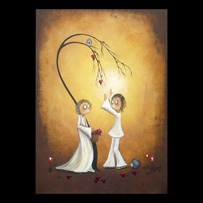 Whimsical Art Print -- Harvest of Hearts