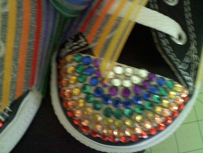 Black Converse Rainbow Blinged Shoes