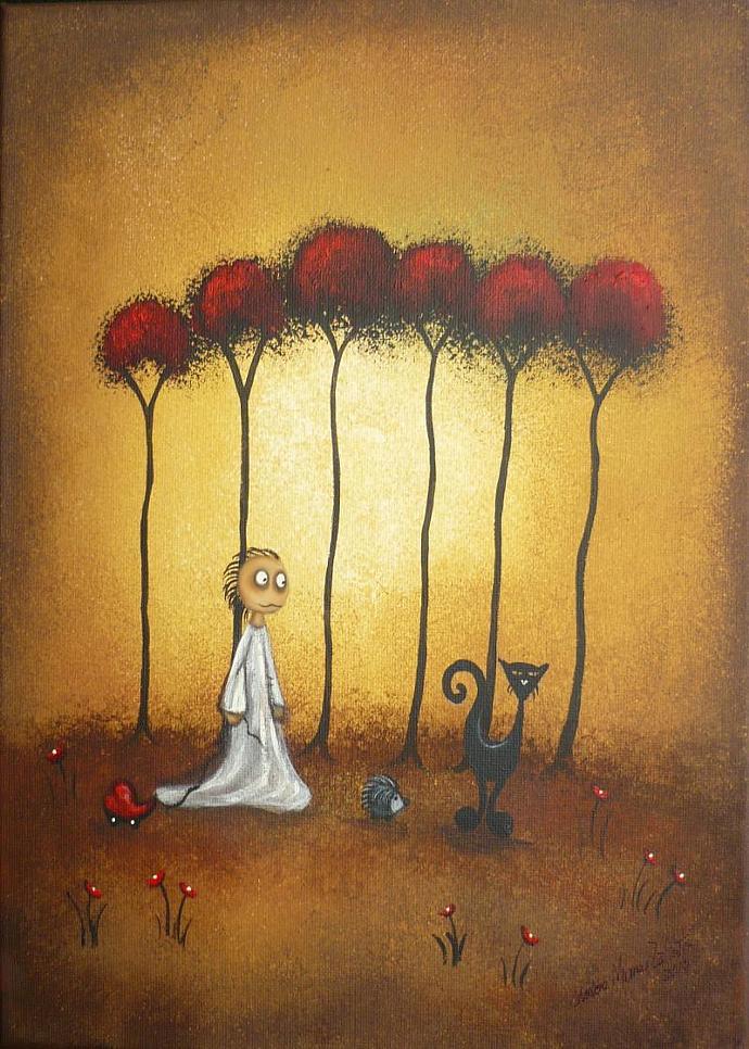 Whimsical Art Creeper Print -- The Heart Will Follow