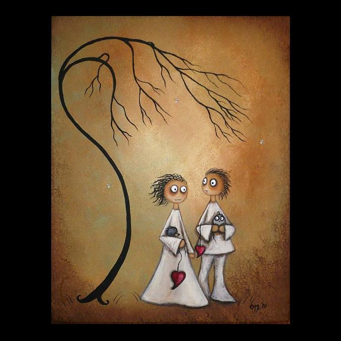Whimsical Art Print -- Sharing Secrets