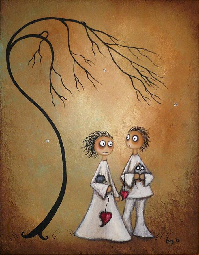 Whimsical Art Print -- Sharing Secrets