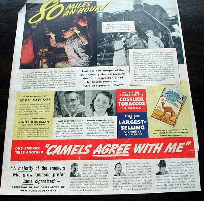 1939 Life Magazine Ad-Camel Cigarettes, Twentieth Century Limited Train