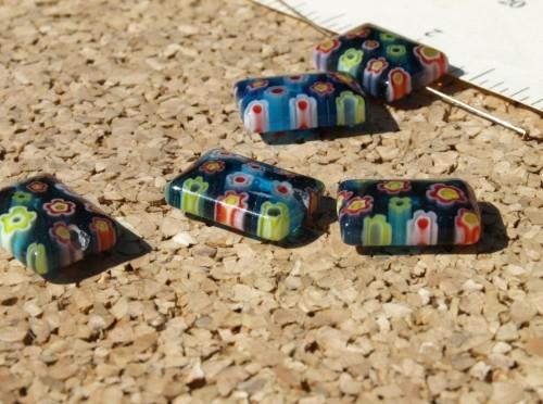 Blue Rectangle Millefiori Beads
