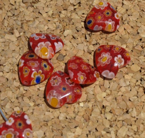 Red Heart Millefiori Beads