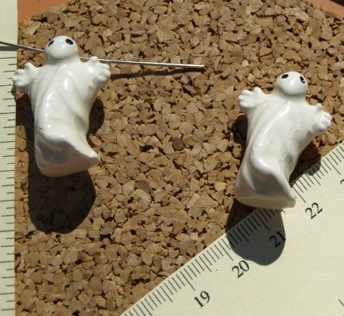 Large Ceramic Ghost Beads