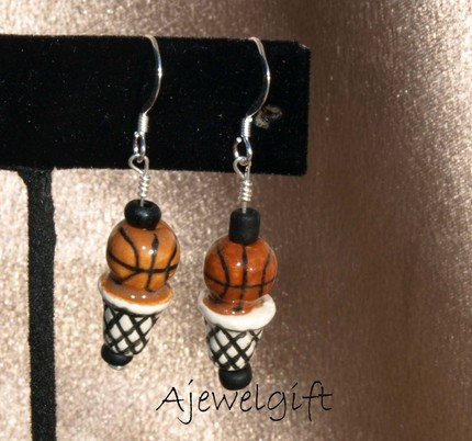 Basketball Hoop Earrings-9097