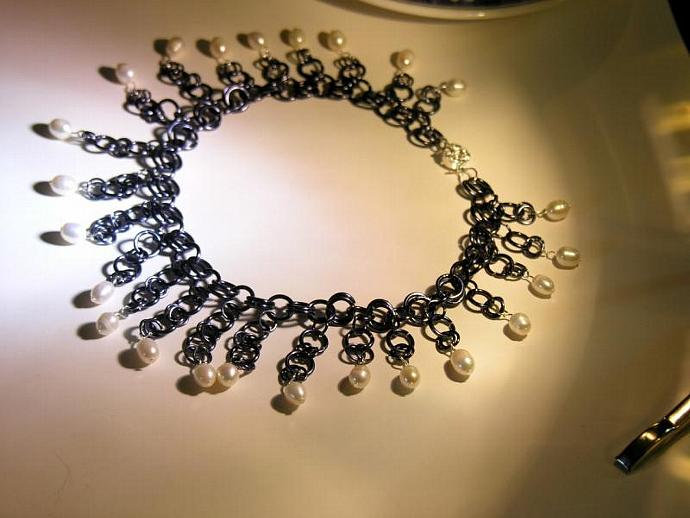 Handmade Blue/Grey Chain Maille & Pearl Necklace