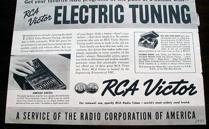 1937 Life Magazine Ad. W.C.fields, Charlie mcCarthy. RCA Victor