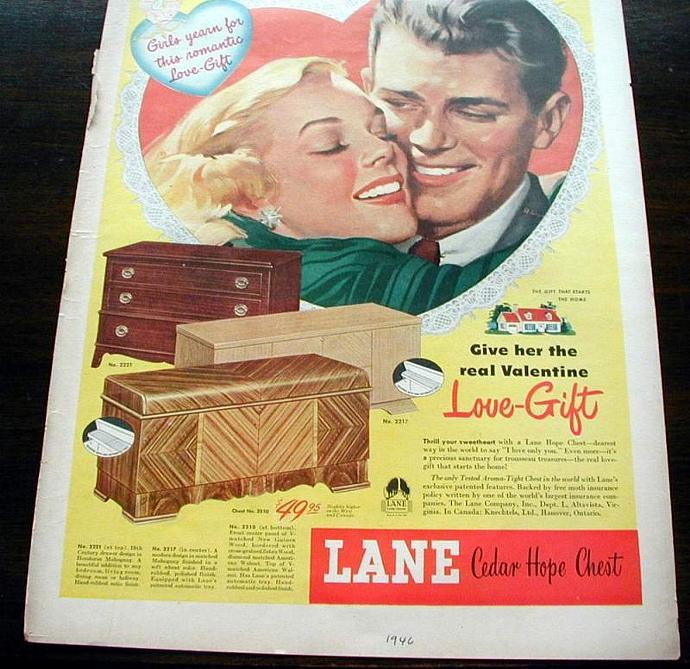 1946 Life Magazine Ad. Lane Hope Chest. Valentine's day ad