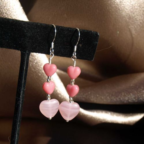 Pink Triple Heart Earrings