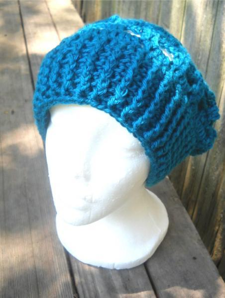 Crocheted Lacy Slouchy Hat in Teal Blue
