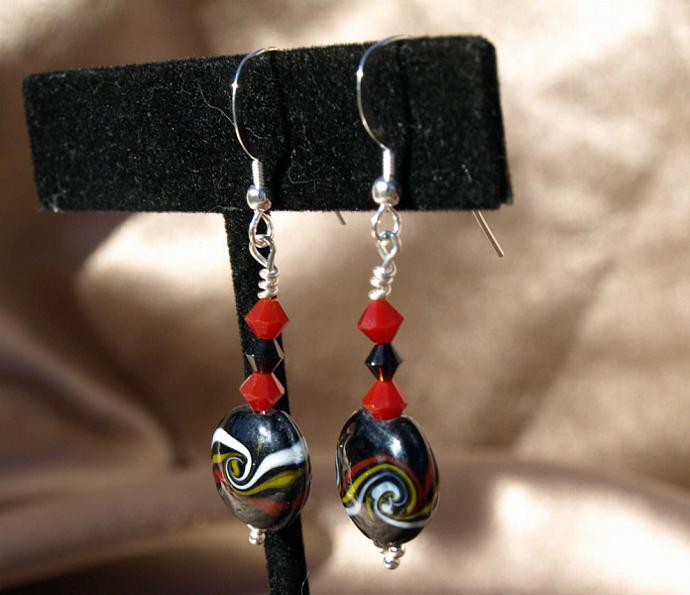 Swirls of Color on Black Glass Earrings-9020