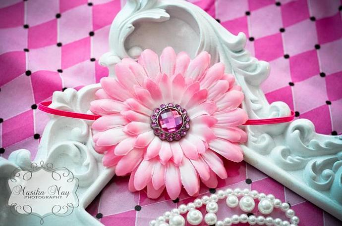 Pink Daisy Headband with Rhinestone Button