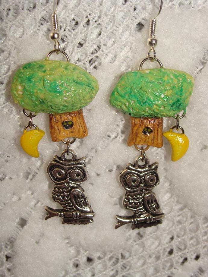 Hand-crafted Owl Tree Moon Dangle Earrings