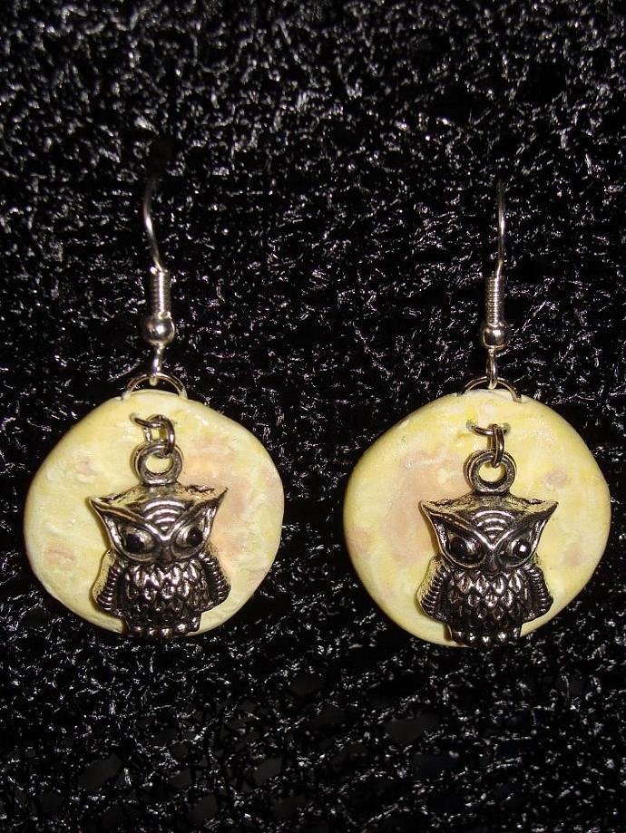 Hand-crafted Owl Moon Dangle Earrings