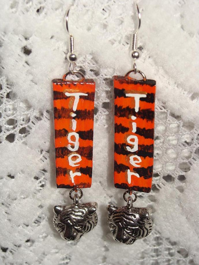 Hand-crafted Tiger Dangle Earrings