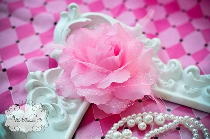 Pink Feather Rose Flower Hair Clip