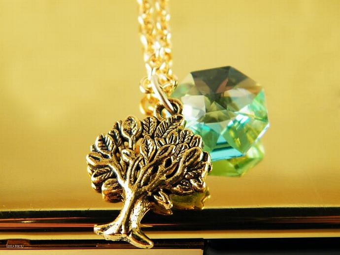 Necklace Teal Green Tree Swarovski Crystal Gold Plated Pendant Blue