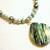 Green Gemstone and Glass Pearls Necklace