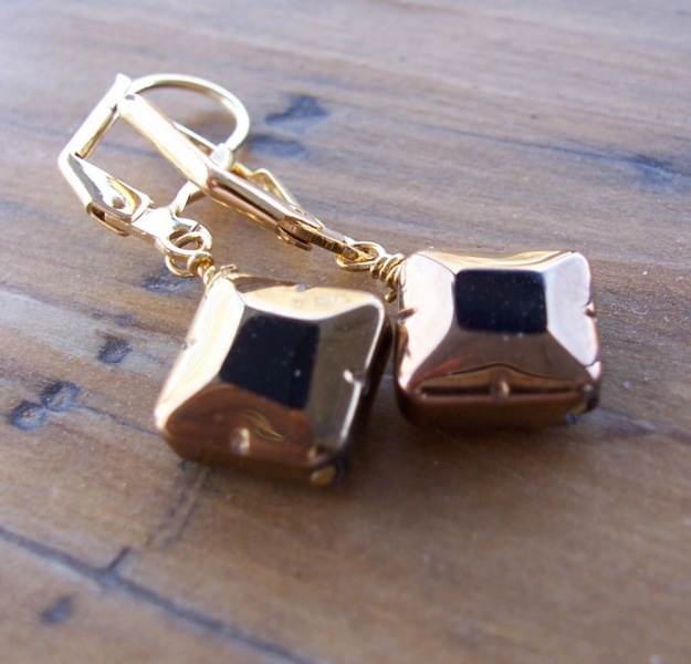 Black and Gold Glass Diamonds Earrings