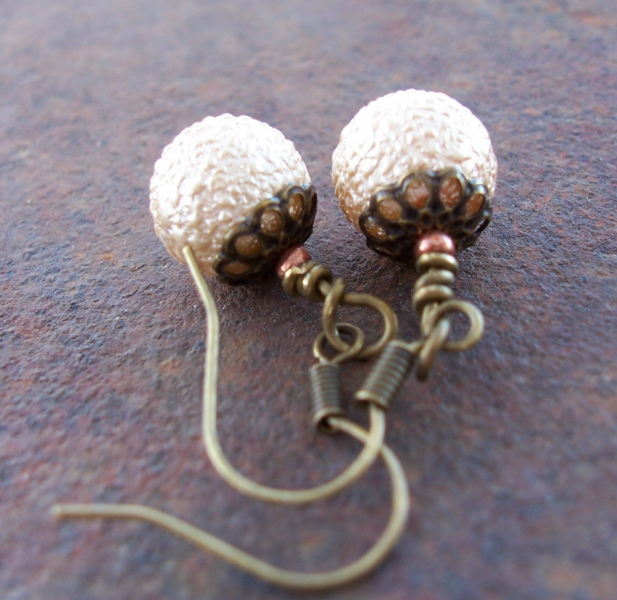 Snowballs Textured Glass Earrings