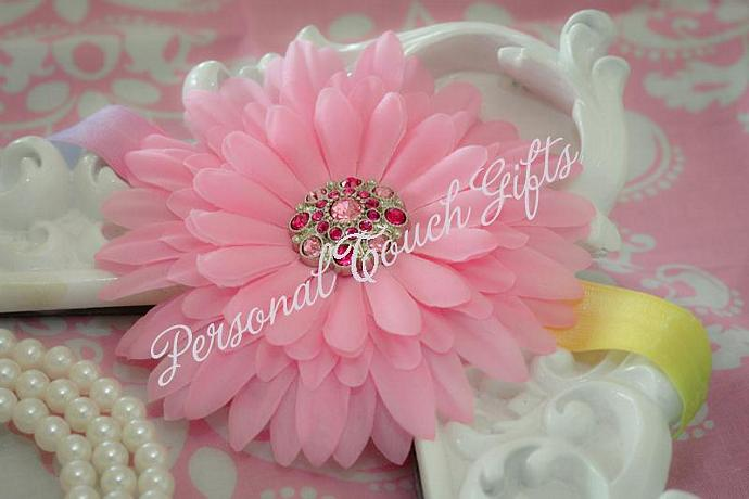 Pink Fluffy Mum Headband with Rhinestone Button