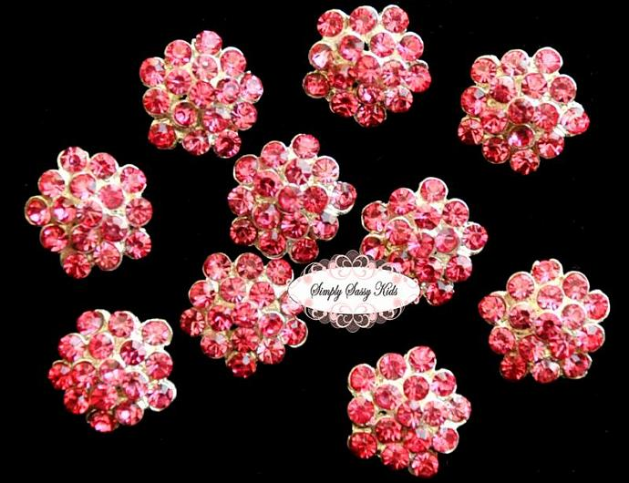 10 pcs RD64 Hot Pink Rhinestone Crystal 13mm Embellishment Buttons ~ PERFECT for
