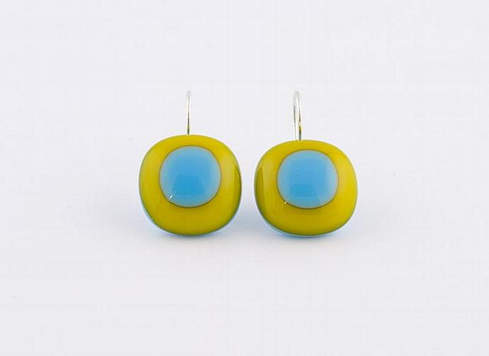 Fused Glass Drop Earrings in Blue and Orange