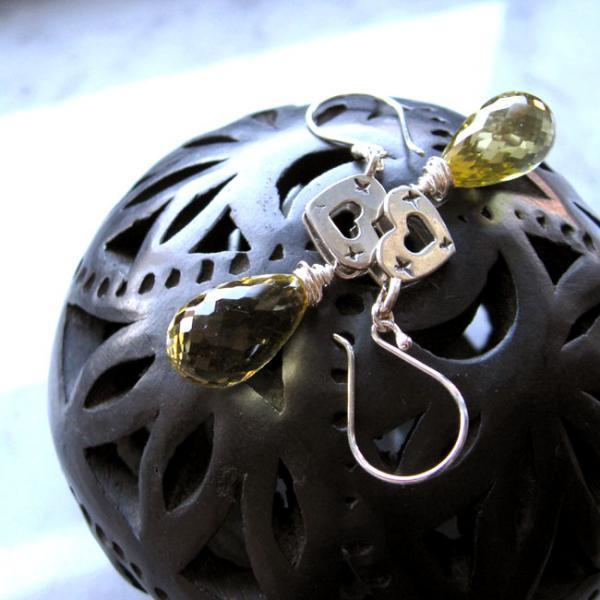 Lemon Drops & Vintage Hearts Silver Earrings