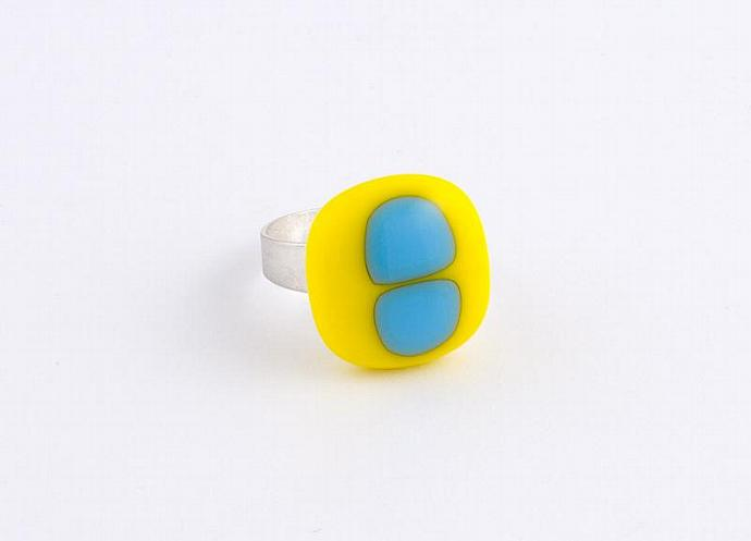Adjustable Fused Glass Ring in Yellow and Blue