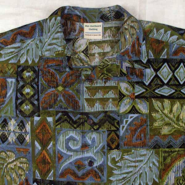 Tapa and Floral Aloha Shirt - Sizes S, M