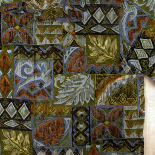 Tapa and Floral Aloha Shirt - Sizes S, M
