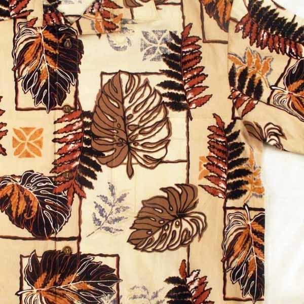 Tan and Brown Monstera Aloha Shirt - Sizes  M, L