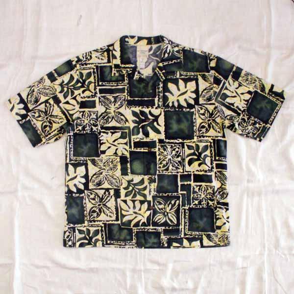 Batik-Style Floral Aloha Shirt - Size Medium