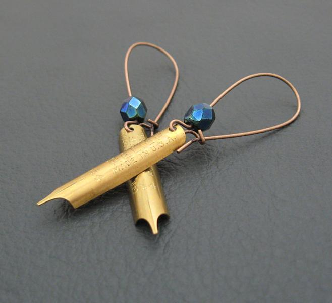 Pen And Ink earrings: real brass pen-nibs with inky blue Czech glass beads