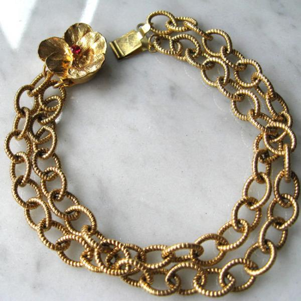 Pink Sapphire and Vintage Japanese Flower Clasp bracelet