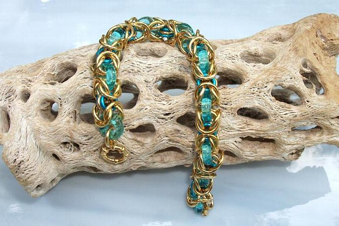Seafoam Glass and Brass Byzantine